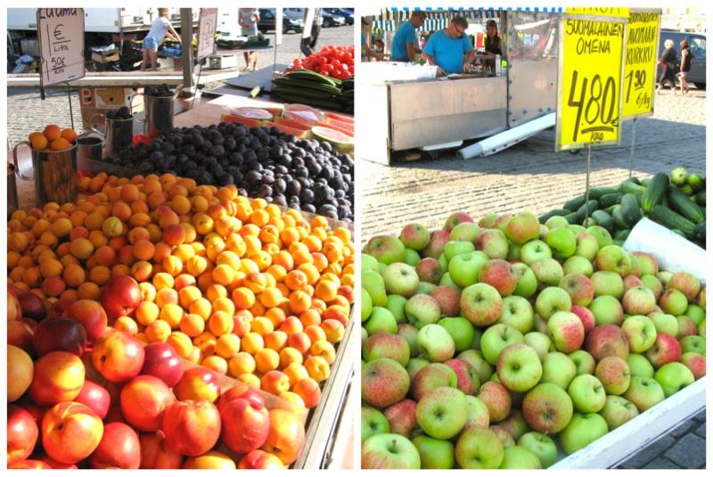 Myös hedelmätarjonta on torilla monipuolista. Melonia, luumuja, nektariineja, sitrushedelmiä. Ja kotimaisia omppuja!