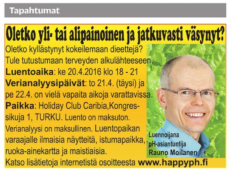 Mainos Turun Sanomissa luentotilaisuudesta 18.4.2016