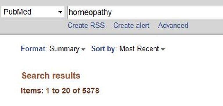 """Medline-haku termillä """"homeopathy"""" tuottaa suuren määrän artikkeleita"""